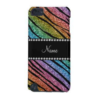 Personalize name rainbow glitter zebra stripes iPod touch (5th generation) cover