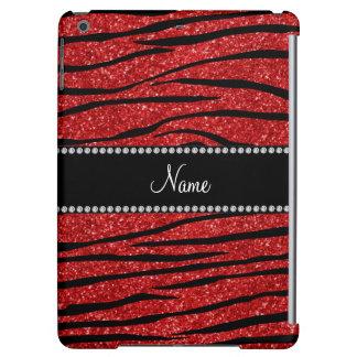 Personalize name red glitter zebra stripes