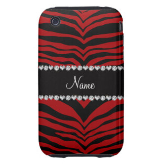 Personalize name red tiger stripes iPhone 3 tough case