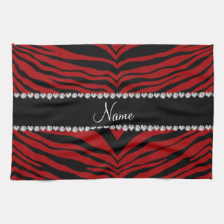 Personalize name red tiger stripes tea towel