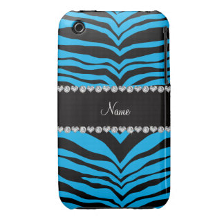 Personalize name sky blue tiger stripes iPhone 3 case