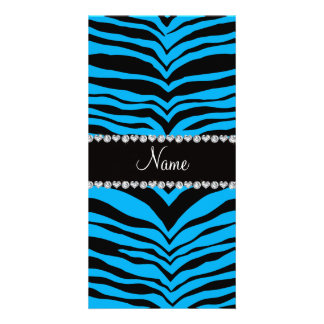 Personalize name sky blue tiger stripes picture card