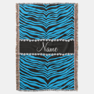 Personalize name sky blue tiger stripes throw blanket