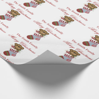 Personalize Name Teddy Bear Stocking Paper Wrapping Paper