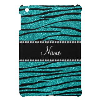 Personalize name turquoise glitter zebra stripes case for the iPad mini