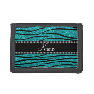 Personalize name turquoise glitter zebra stripes tri-fold wallets