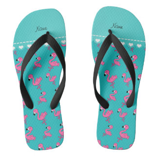 Personalize name turquoise pink flamingos flip flops