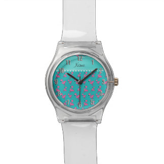 Personalize name turquoise pink flamingos watch