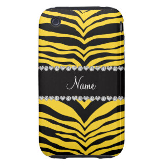 Personalize name yellow tiger stripes tough iPhone 3 covers