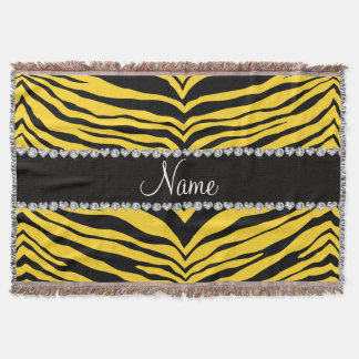 Personalize name yellow tiger stripes throw blanket