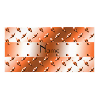 Personalize named orange diamond steel plate personalized photo card