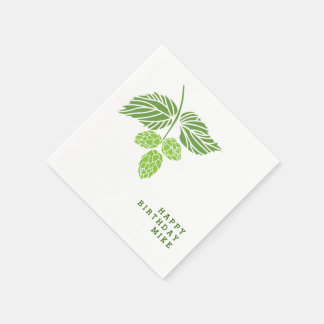 Personalize napkins with hop illustration, beer disposable serviette