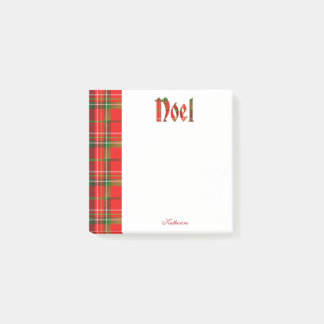 "Personalize: ""Noel"" - Christmas Tartan Typography Post-it Notes"