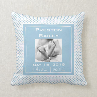 Personalize Nursery Birth Announcement, Baby Blue Throw Pillow