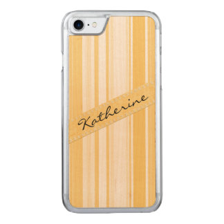 Personalize: Old Gold and White Vertical Stripes Carved iPhone 8/7 Case