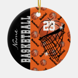 Personalize Orange Basketball Christmas Ornament