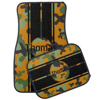 Personalize Orange Camouflage Black Racing Stripes Car Mat