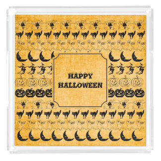 Personalize: Orange Halloween Fun Font Art Pattern Acrylic Tray