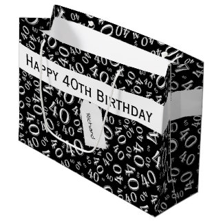 Personalize: Over The Hill 40th Birthday Theme Large Gift Bag