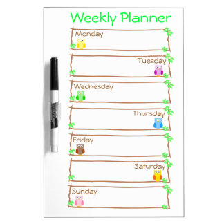 Personalize Owl Week Weekly Planner Dry-Erase Whiteboard