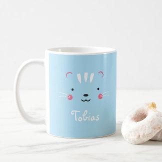 Personalize paleturquoise blue adorable cat mug