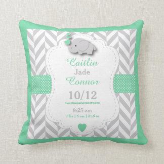 Personalize - Pastel Green, Gray & White Elephant Cushion