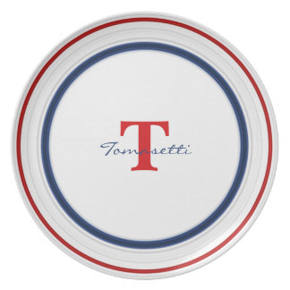 Personalize:  Patriotic Red White and Blue Circles Party Plate