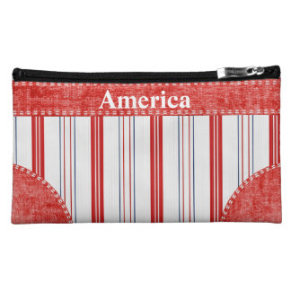 Personalize:  Patriotic red white and blue stripes Cosmetic Bag