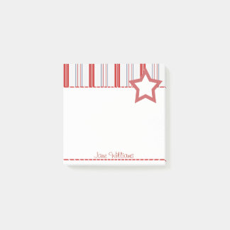 Personalize:  Patriotic Red White and Blue Stripes Post-it® Notes