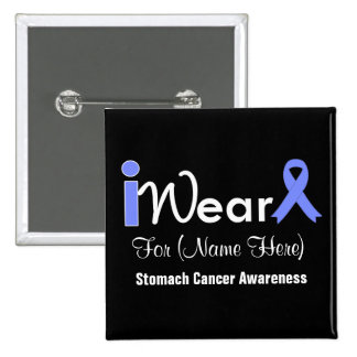 Personalize Periwinkle Ribbon Stomach Cancer Buttons