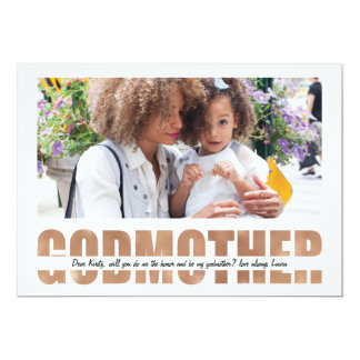 PERSONALIZE PHOTO WILL YOU BE MY GODMOTHER 13 CM X 18 CM INVITATION CARD