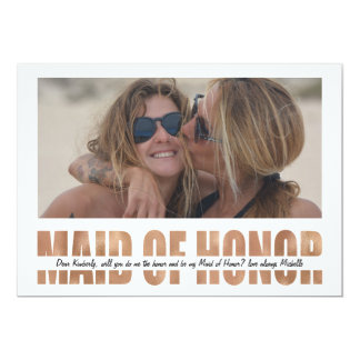 PERSONALIZE PHOTO WILL YOU BE MY MAID OF HONOR 13 CM X 18 CM INVITATION CARD