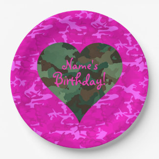Personalize - Pink Camo 9 Inch Paper Plate