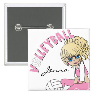 Personalize Pink Volleyball Cute Girl 15 Cm Square Badge