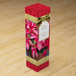 Personalize:  Poinsettia Christmas Picture Wine Gift Box