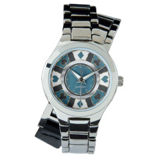 Personalize Poker Player Game in Teal and Silver Watch