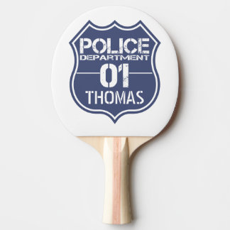 Personalize Police Department Shield 01 - Any Name Ping Pong Paddle