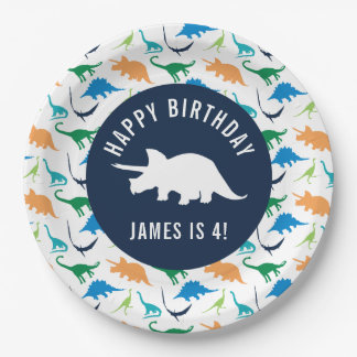 Personalize Preppy Dinosaur Birthday Party Plate