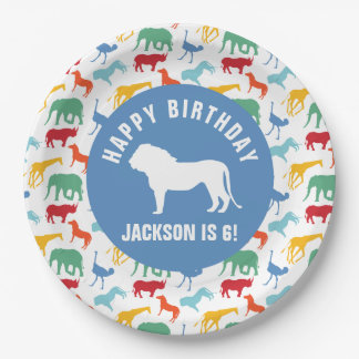 Personalize Preppy Lion Safari Animal Birthday Paper Plate