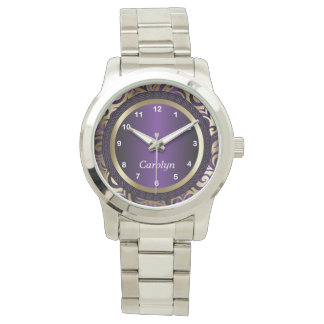 Personalize Purple and Gold Abstract Design Watch