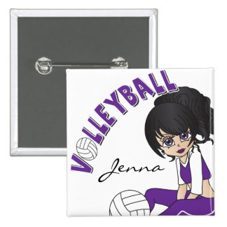 Personalize Purple Volleyball Cute Girl 15 Cm Square Badge
