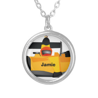 Personalize Race Car Birthday Party Gifts Round Pendant Necklace