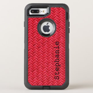 Personalize:  Red Faux Basket Weave Pattern OtterBox Defender iPhone 7 Plus Case
