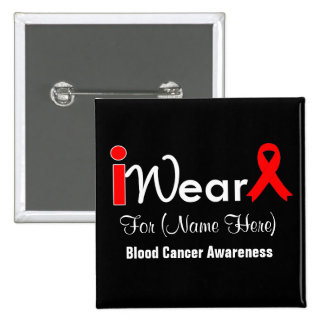 Personalize Red Ribbon Blood Cancer Pinback Buttons