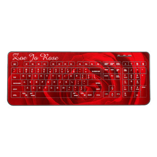 Personalize: Red Rose Center Floral Photography Wireless Keyboard