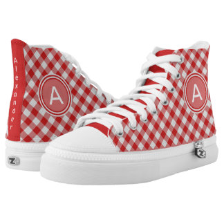 Personalize:  Red & White Gingham Check High Tops Printed Shoes