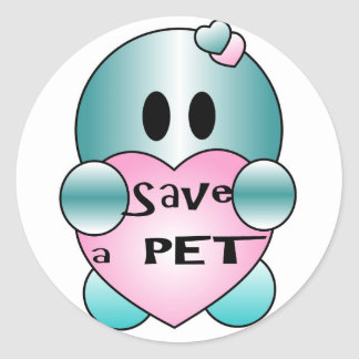Personalize SACE A PET Cute Character Round Sticker