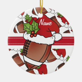 Personalize Santa's Hat Christmas Football Christmas Ornament