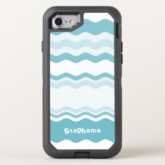 Personalize:  Shades of Turquoise Waves Pattern OtterBox Defender iPhone 8/7 Case