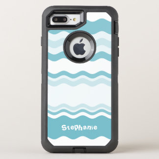 Personalize:  Shades of Turquoise Waves Pattern OtterBox Defender iPhone 8 Plus/7 Plus Case